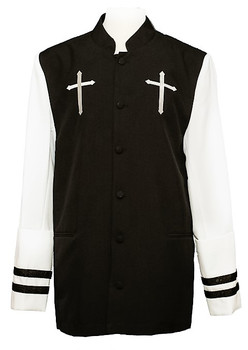 Joshua Clergy Jacket For Men In Black & White