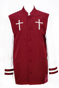 CLOSEOUT - Joshua Clergy Jacket For Men In Burgundy & White