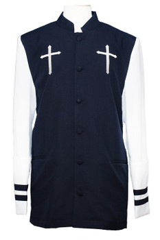 CLOSEOUT  - Joshua Clergy Jacket For Men In Navy & White