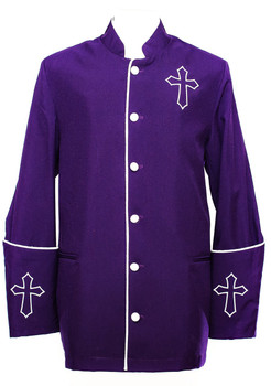 Trinity Clergy Jacket In Purple & White