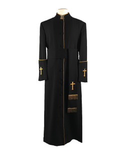 005. Men's Preacher Clergy Robe & Cincture Set in Black & Gold