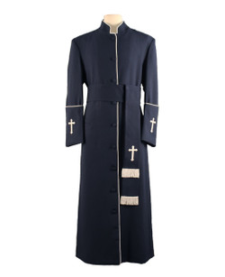 001. Men's Preacher Clergy Robe & Cincture Set in Navy & White