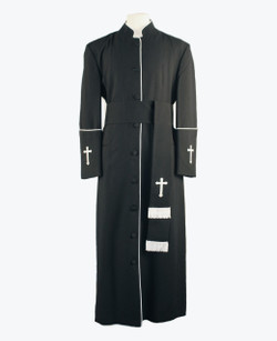 001. Men's Preacher Clergy Robe & Cincture Set in Charcoal & White