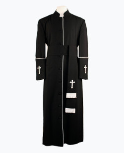 001. Men's Preacher Clergy Robe & Cincture Set in Black & White