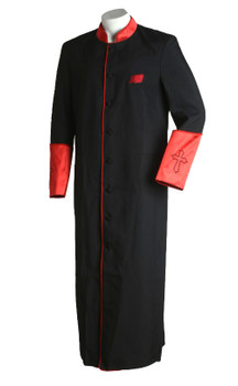 004.  Men's Asbury Clergy Robe in Black & Red