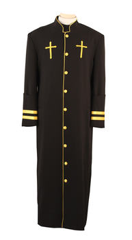 001. Men's Peter Clergy Robe For Men In Black & Gold