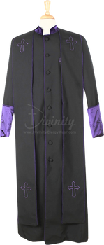 004.  Men's Asbury Clergy Robe & Stole Set In Black & Purple