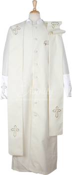 004.  Men's Asbury Clergy Robe & Stole Set In Ivory & Gold