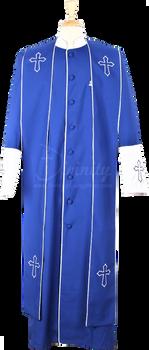 004.  Men's Asbury Clergy Robe & Stole Set In Royal & White