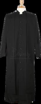 004.  Men's Trinity Clergy Robe & Stole Set In Black on Black