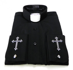 Tab Collar Cufflink Clergy Shirt With Embroidered Cuff