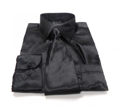 Solid Satin Dress Shirt & Tie Set In Black