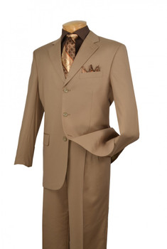 2-Piece 3-Button Solid Executive Suit In Khaki