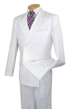 Basic Double Breasted Solid Colored Suit In White