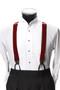 Men's Button-Hold Suspender Set In BURGUNDY
