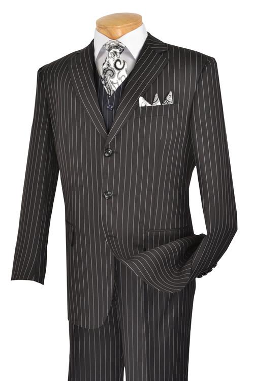 3-Piece Classic Pin Stripe Suit In Black