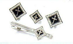 4d diamond silver black cross