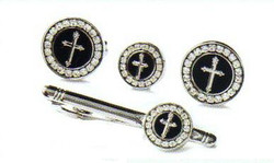 4d round black silver cross