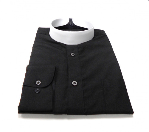 Banded Collar Affordable Clergy Bishop Shirt Black