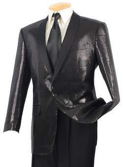 1-Button Shawl Collar Sequin Sport Coat In Black