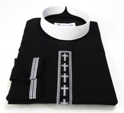 Banded Collar Embroidered Clergy Shirt