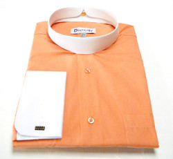 Two Tone Banded Collar Clergy Shirt In Coral & White