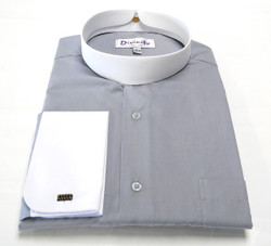 Two Tone Banded Collar Clergy Shirt In Silver White