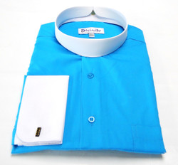 Two Tone Banded Collar Clergy Shirt In Turquoise & White