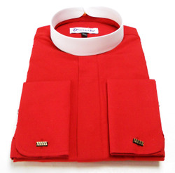 Banded Collar French Cuff Clergy Shirt In Red