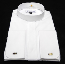 Men's Banded Collar French Cuff Clergy Shirt In White
