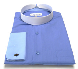 Men's Banded Collar French Cuff Clergy Shirt In Blue