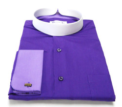 Men's Banded Collar French Cuff Clergy Shirt In Purple