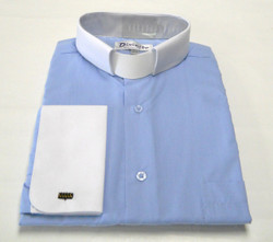 Two-Tone French Cuff Clergy Shirt In Light Blue