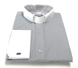 Two-Tone French Cuff Clergy Shirt In Silver