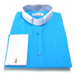 Two-Tone French Cuff Clergy Shirt In Turquoise