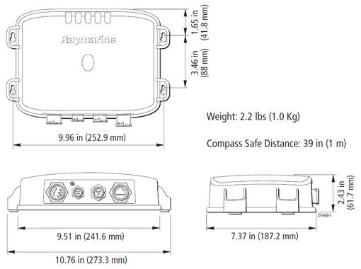 Raymarine DSM300 Sounder Sizes