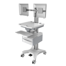 foot control computer trolley- height adjustable