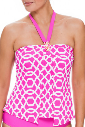 Pink and White Loose Fit Tankini PA-144