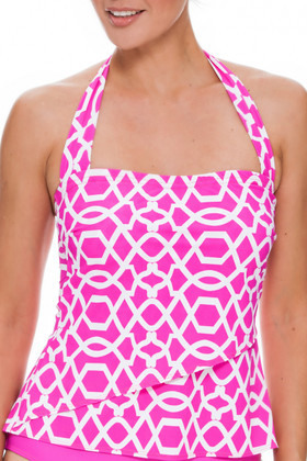 Pink and White Tankini Loose Fit PA-150