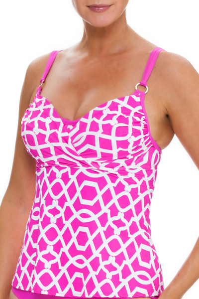 Pink and White Cup Sized Tankini PA-152 - Modern design comes with cross front overlay and flyaway back that is flattering to all body shapes.