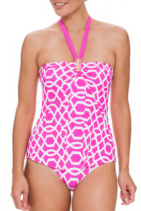 Pink and White One Piece PA-344