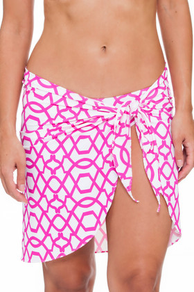 Pink and White Wrap Cover Up PA-403