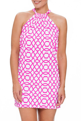 Pink and White Dress Cover Up PA-409