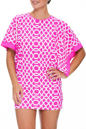 Pink and White Tunic Cover Up PA-435
