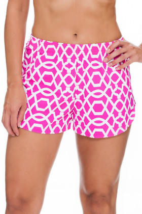 Pink and White Shorts Cover Up PA-461