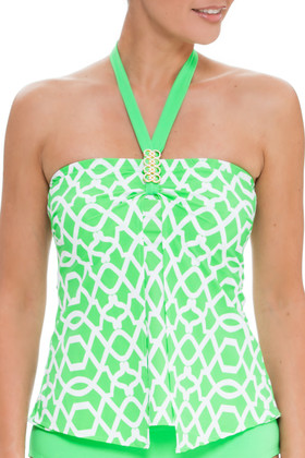 Green and White Loose Fit Tankini SS-144