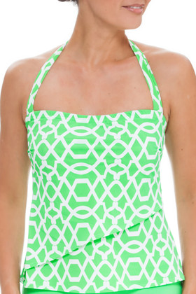 Green and White Tankini SS-150