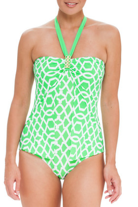 Green and White One Piece SS-344