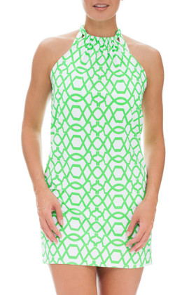 Green and White Dress Cover Up SS-409