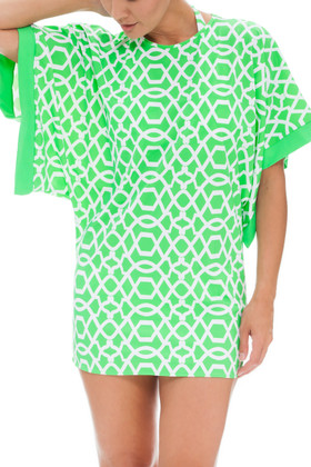 Green and White Tunic Cover Up SS-435
